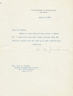 Autographs: WILLIAM M. JARDINE - TYPED LETTER SIGNED 04/03/1925