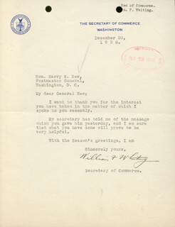 Autographs: WILLIAM F. WHITING - TYPED LETTER SIGNED 12/20/1928
