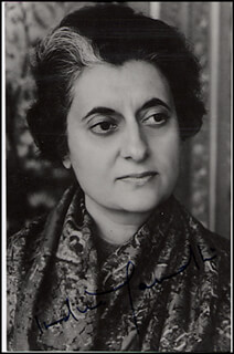 PRIME MINISTER INDIRA GANDHI (INDIA) - AUTOGRAPHED SIGNED PHOTOGRAPH