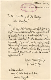 J. PAUL GETTY - AUTOGRAPH LETTER SIGNED 12/11/1913