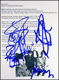 CHEAP TRICK - PRINTED LYRICS SIGNED IN INK CO-SIGNED BY: CHEAP TRICK (BUN E. CARLOS), CHEAP TRICK (RICK NIELSEN), CHEAP TRICK (TOM PETERSSON), CHEAP TRICK (ROBIN ZANDER)