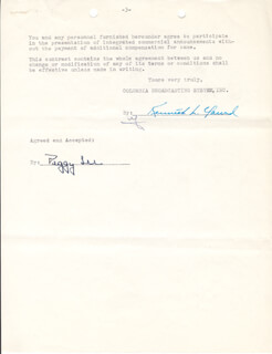 PEGGY LEE - CONTRACT SIGNED 10/10/1949