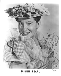 MINNIE PEARL - AUTOGRAPHED SIGNED PHOTOGRAPH