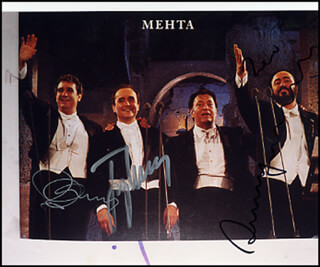 THE THREE TENORS - AUTOGRAPHED SIGNED PHOTOGRAPH CO-SIGNED BY: PLACIDO DOMINGO, JOSE CARRERAS, LUCIANO PAVAROTTI, JAMES LEVINE