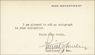 PATRICK J. HURLEY - TYPED NOTE SIGNED
