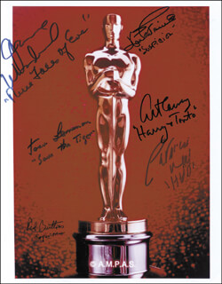 Autographs: ACADEMY AWARDS - PHOTOGRAPH SIGNED CO-SIGNED BY: PATRICIA NEAL, JACK LEMMON, JOAN FONTAINE, JOANNE WOODWARD, ART CARNEY, RED BUTTONS