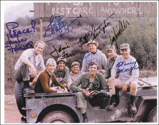 M*A*S*H TV CAST - AUTOGRAPHED SIGNED PHOTOGRAPH CO-SIGNED BY: LARRY LINVILLE, ALAN ALDA, WILLIAM CHRISTOPHER, GARY BURGHOFF, JAMIE FARR, LORETTA SWIT, MIKE FARRELL, HARRY MORGAN