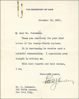 PATRICK J. HURLEY - TYPED LETTER SIGNED 11/30/1932