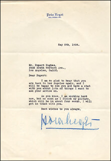 POLA NEGRI - TYPED LETTER SIGNED 05/05/1924