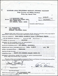 JAMES JIMMY STEWART - DOCUMENT SIGNED 10/31/1977