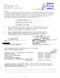 ROD TAYLOR - DOCUMENT DOUBLE SIGNED 04/29/1993