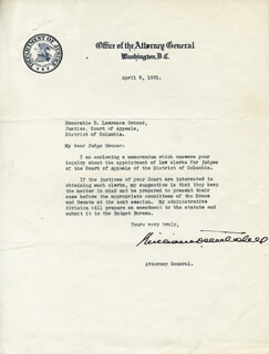 Autographs: WILLIAM D. MITCHELL - TYPED LETTER SIGNED 04/08/1931