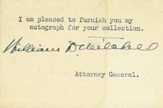 WILLIAM D. MITCHELL - PRINTED CARD SIGNED IN INK