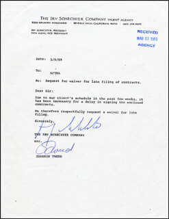 SHANNON TWEED - DOCUMENT SIGNED 03/09/1989 CO-SIGNED BY: IRV SCHECHTER