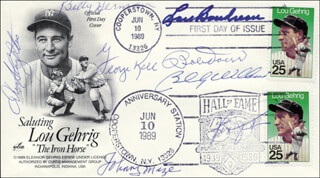 BOBBY DOERR - FIRST DAY COVER SIGNED CO-SIGNED BY: BILLY WILLIAMS, GEORGE KELL, JOHNNY MIZE, LOU BOUDREAU, ENOS SLAUGHTER, BILLY HERMAN, FERGUSON JENKINS