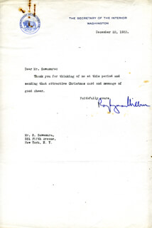 RAY L. WILBUR - TYPED LETTER SIGNED 12/22/1932