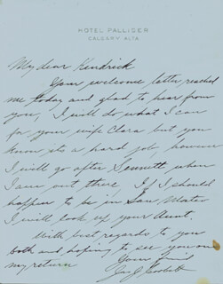 JAMES J. GENTLEMAN JIM CORBETT - AUTOGRAPH LETTER SIGNED