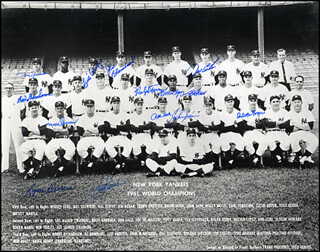 THE 1961 NEW YORK YANKEES - AUTOGRAPHED SIGNED PHOTOGRAPH CO-SIGNED BY: BILLY GARDNER, JIM COATES, BILL MOOSE SKOWRON, CLETE BOYER, HECTOR LOPEZ, JOHNNY BLANCHARD, RYNE DUREN, JOHNNY SAIN, BOBBY RICHARDSON, LUIS YO-YO ARROYO, BOB CERV, RALPH HOUK, RALPH TERRY
