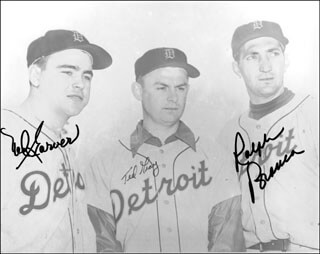 THE DETROIT TIGERS - AUTOGRAPHED SIGNED PHOTOGRAPH CO-SIGNED BY: RALPH HAWK BRANCA, NED GARVER, TED GRAY