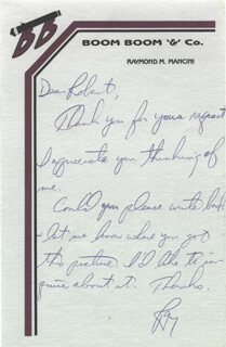 RAY BOOM BOOM MANCINI - AUTOGRAPH LETTER SIGNED