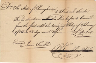 BENJAMIN FRANKLIN - MANUSCRIPT DOCUMENT SIGNED 02/28/1786 CO-SIGNED BY: JAMES TRIMBLE