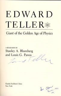 EDWARD TELLER - BOOK SIGNED CIRCA 1991