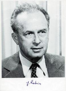 Autographs: PRIME MINISTER YITZHAK RABIN (ISRAEL) - PHOTOGRAPH SIGNED