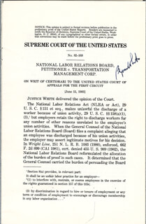 ASSOCIATE JUSTICE BYRON R. WHITE - PRINTED SYLLABUS SIGNED IN INK CIRCA 1983
