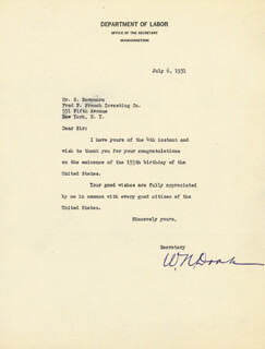 Autographs: WILLIAM N. DOAK - TYPED LETTER SIGNED 07/06/1931