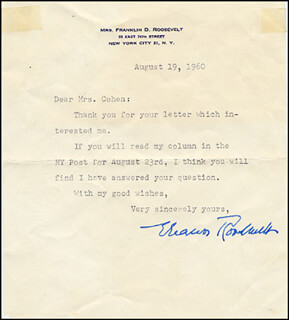 FIRST LADY ELEANOR ROOSEVELT - TYPED LETTER SIGNED 08/19/1960