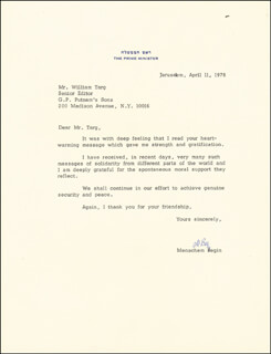 Autographs: PRIME MINISTER MENACHEM BEGIN (ISRAEL) - TYPED LETTER SIGNED 04/01/1978