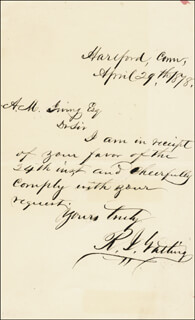 RICHARD J. GATLING - AUTOGRAPH LETTER SIGNED 04/29/1878