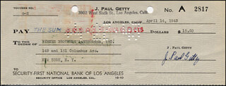 J. PAUL GETTY - AUTOGRAPHED SIGNED CHECK 04/14/1943