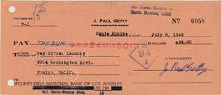 J. PAUL GETTY - AUTOGRAPHED SIGNED CHECK 07/08/1946