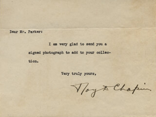 Autographs: ROY D. CHAPIN - TYPED NOTE SIGNED