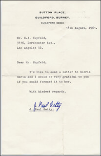 J. PAUL GETTY - TYPED LETTER SIGNED 08/18/1961
