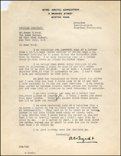 Autographs: REAR ADMIRAL RICHARD E. BYRD - TYPED LETTER SIGNED 11/26/1926