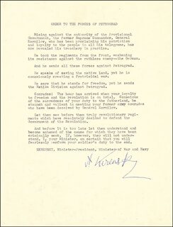 Autographs: PRIME MINISTER ALEXANDER KERENSKY (RUSSIA) - TYPESCRIPT SIGNED