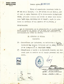 PRESIDENT JUAN D. PERON (ARGENTINA) - DOCUMENT SIGNED 03/22/1945 CO-SIGNED BY: GENERAL PEDRO B. ABADIE ACUNA