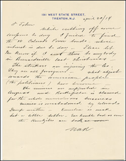 WASHINGTON A. ROEBLING - AUTOGRAPH LETTER SIGNED 04/30/1914