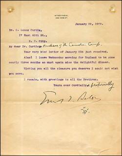 ERNEST SETON-THOMPSON - TYPED LETTER SIGNED 01/25/1909