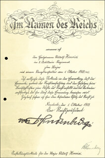 FIELD MARSHAL PAUL VON HINDENBURG - DOCUMENT SIGNED 10/01/1933 CO-SIGNED BY: FIELD MARSHAL WERNER VON BLOMBERG