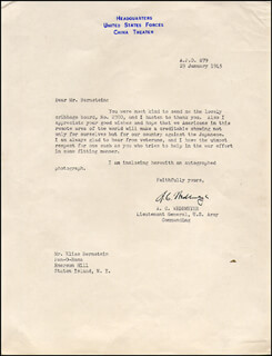 GENERAL ALBERT COADY WEDEMEYER - TYPED LETTER SIGNED 01/29/1945