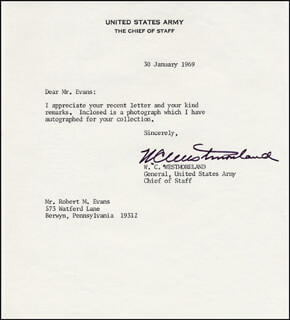 GENERAL WILLIAM C. WESTMORELAND - TYPED LETTER SIGNED 01/30/1969