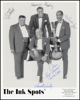 THE INK SPOTS - AUTOGRAPHED INSCRIBED PHOTOGRAPH CO-SIGNED BY: THE INK SPOTS (SONNY HATCHETT), THE INK SPOTS (HAROLD WINLEY), THE INK SPOTS (MORRIS DOW), THE INK SPOTS (HERMAN WINLEY)