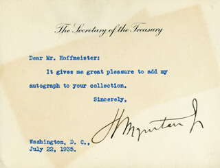 HENRY MORGENTHAU JR. - TYPED NOTE SIGNED 07/22/1935