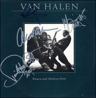 VAN HALEN - RECORD ALBUM COVER SIGNED 2003 CO-SIGNED BY: DAVID LEE ROTH, VAN HALEN (MICHAEL ANTHONY), VAN HALEN (ALEX VAN HALEN), VAN HALEN (EDDIE VAN HALEN)