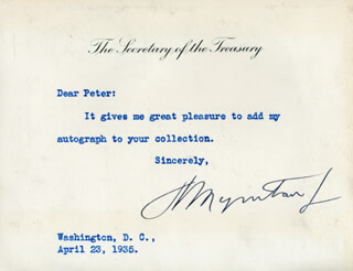 HENRY MORGENTHAU JR. - TYPED NOTE SIGNED 04/23/1935
