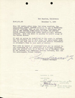 SAMUEL GOLDWYN - DOCUMENT SIGNED 12/07/1933