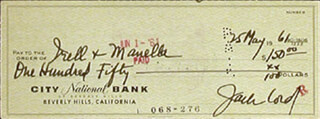JACK LORD - AUTOGRAPHED SIGNED CHECK 05/25/1961
